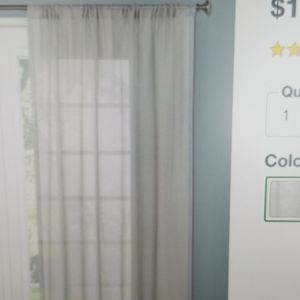 54x84 1 Panel Sheer Curtain Panel New Gray